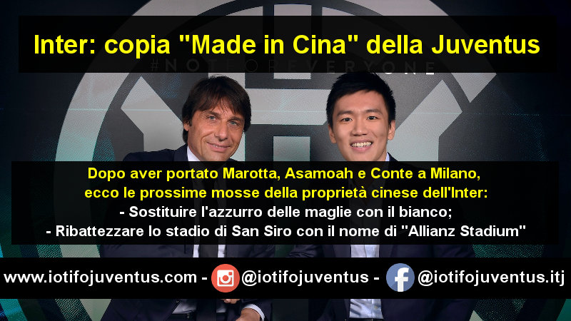 immagine Inter copia Juventus made in Cina